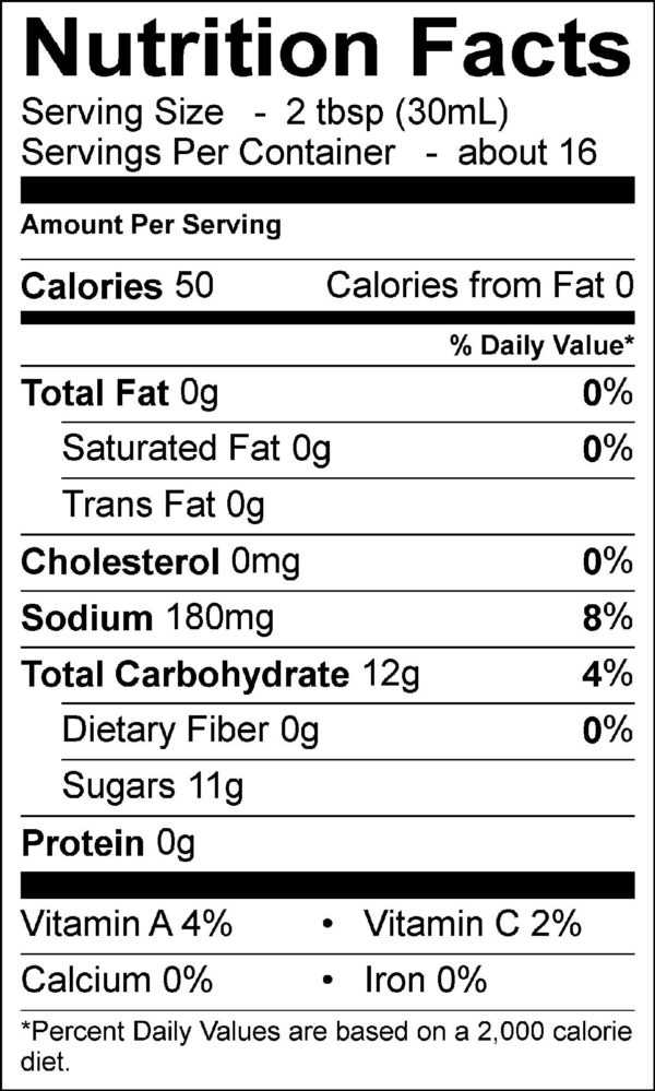 Nutritional information for Original BBQ Sauce. |GrillMan BBQ